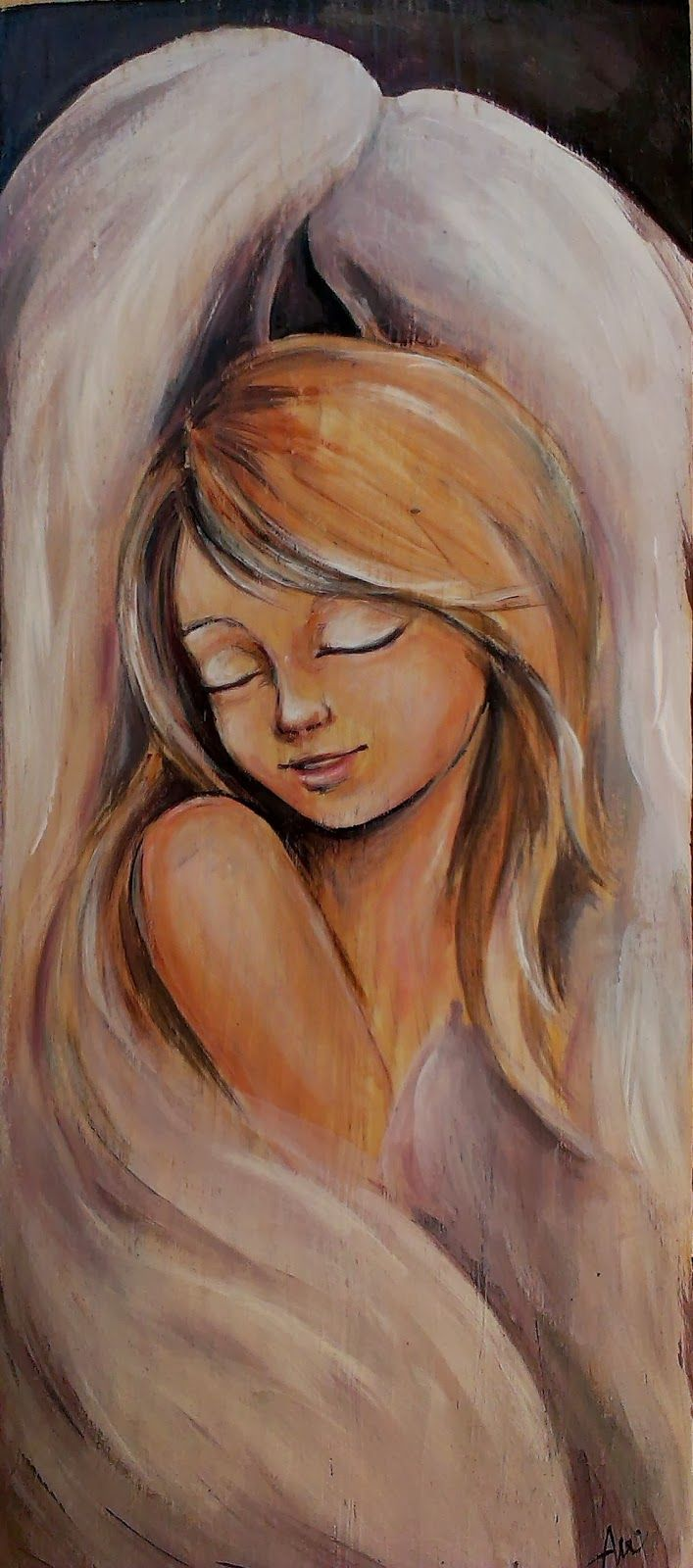 Anielska delikatność  angel acrylic painting on wood