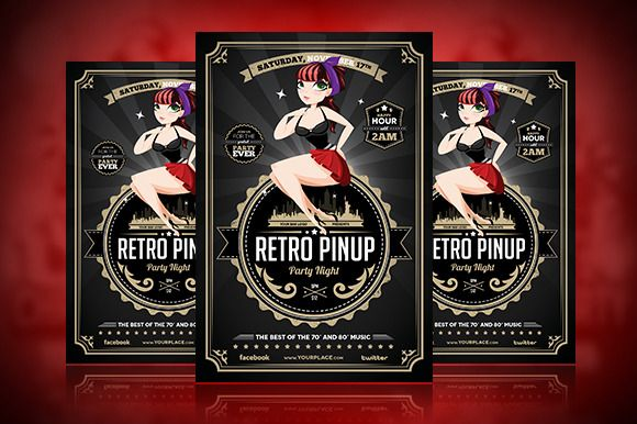 Retro Pinup Party Flyer Template by Odin_Design on Creative Market