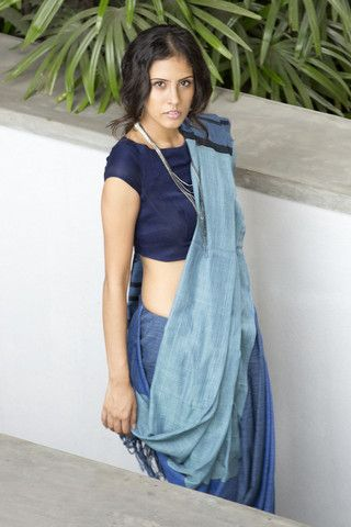 Denim Saree - 04 - Available from October 1st, Order Now – Fashion Market.LK