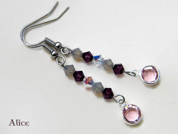 Swarovski crystal dangle earings handmade spring di ilSognodiAlice