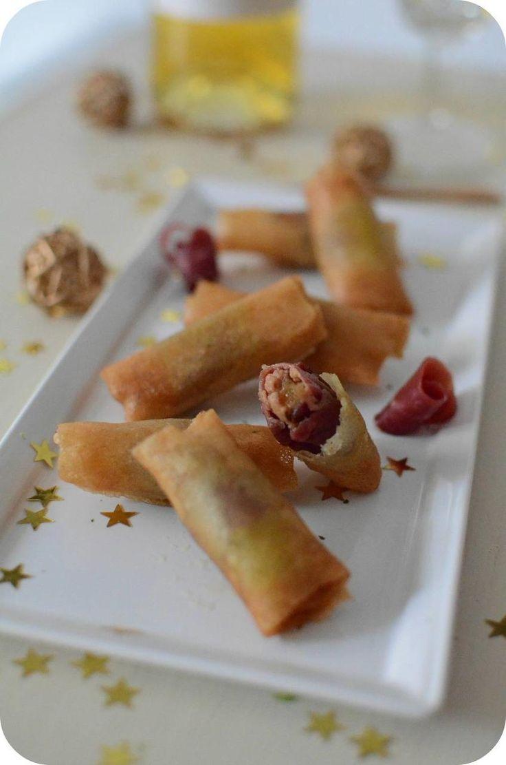 Nems au magret de canard fumé, foie gras et fruits secs