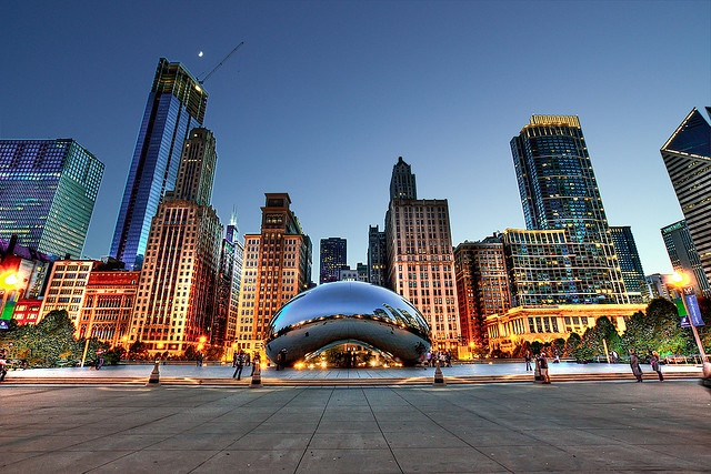 Cloud Gate and Chicago Skyline