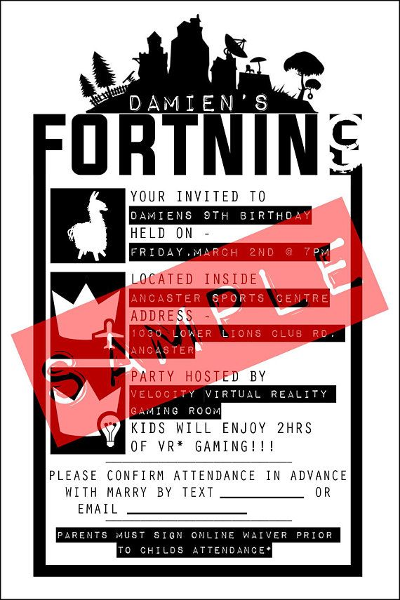 fortnite personalized birthday invite print out template in 2018