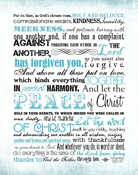 Col 3:12-17 printable bible verse. Scripture memorization.