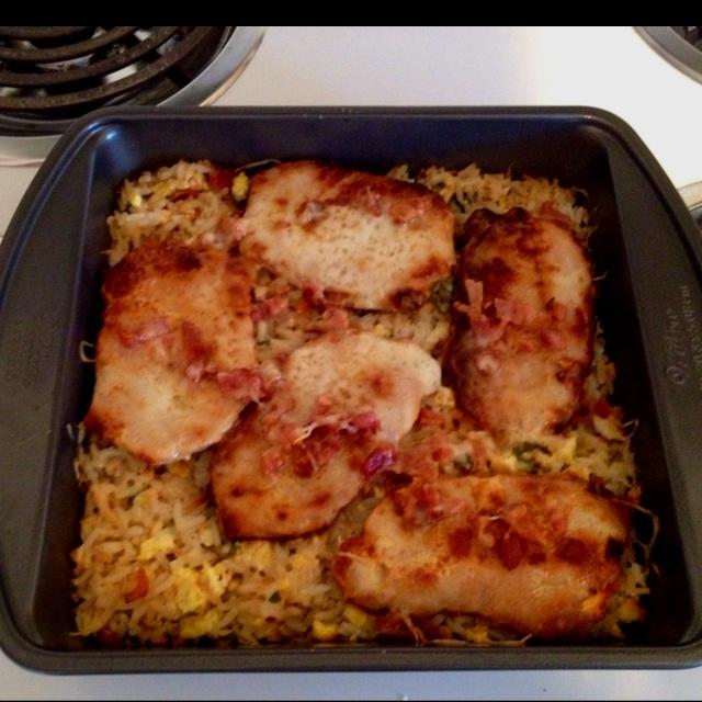 Pork chop fried rice casserole