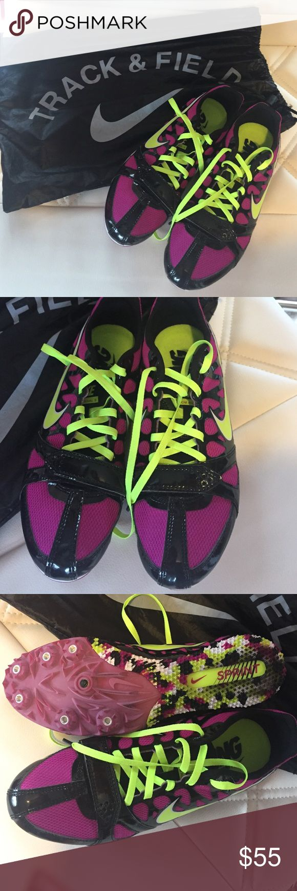 Brand-new Nike track and field spikes Purple and green and black brand-new Nike track and field sprint shoes they have never been worn and come in the original bag Nike Shoes Athletic Shoes