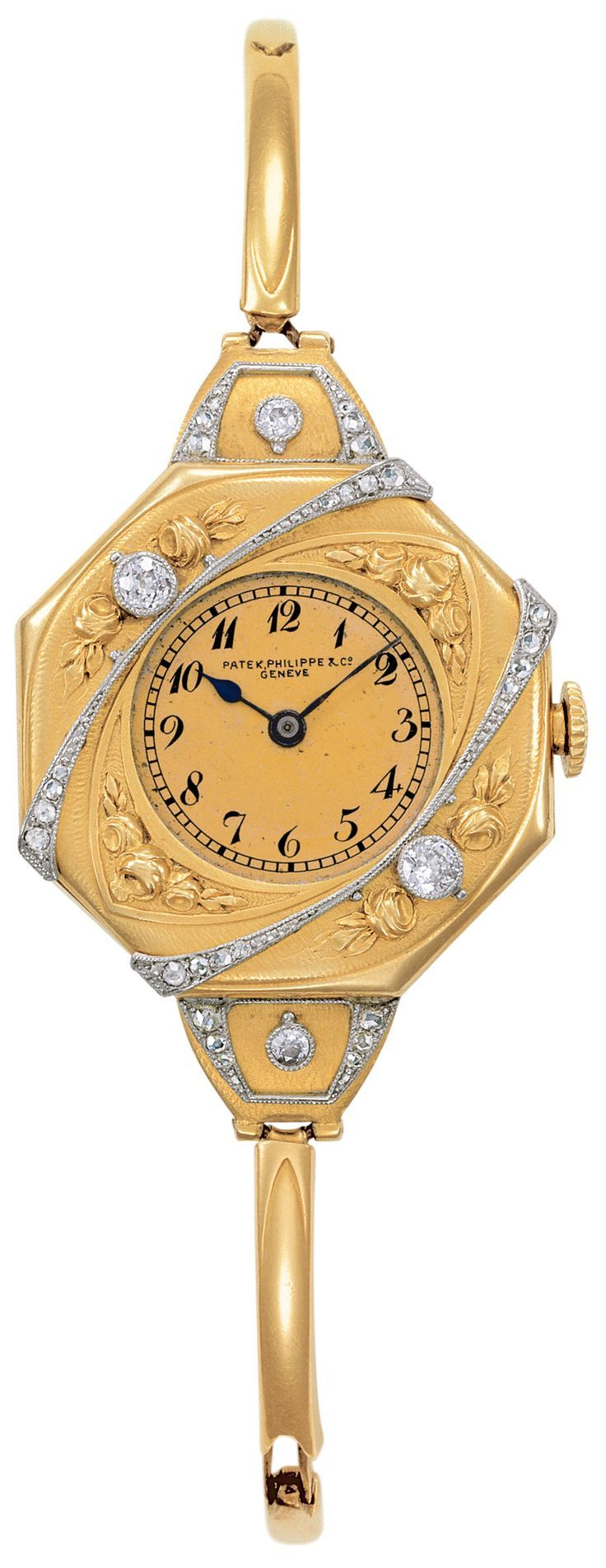 Wondrous Women's Watch From Patek Philippe in a Yellow and White Gold Bracelet Style, Highlighted with Diamonds and Black Numerals & Hands, Stunning!