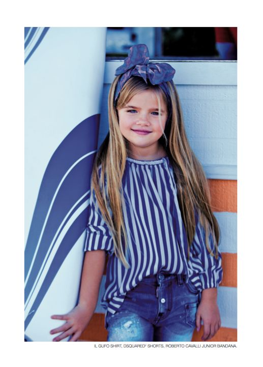 From our editorial - SURFIN'USA Photos: Zhanna Romashka Stylist: Only Stylish People Il Gufo shirt, Dsquared² shorts, Roberto Cavalli Junior bandana. #shirt #shorts #bandana #ilgufo @Il Gufo #Dsquared² #robertocavalli #junior @Roberto Cavalli #kids #childrenswear #girl #fashion #style #look