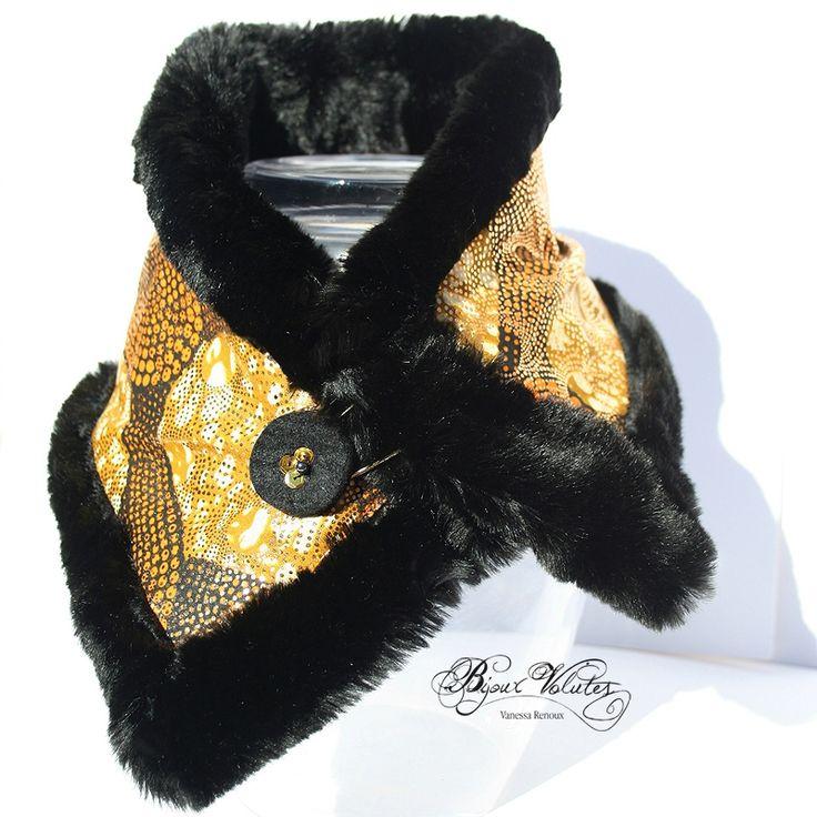 Col amovible, col de manteau, �charpe en fausse fourrure noir, tissu dor�
