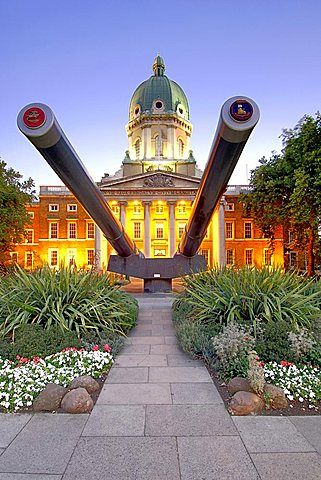 The Imperial War Museum in London at dusk. The building used to be the Betheleham mental hospital (Bedlam) during Victorian times.