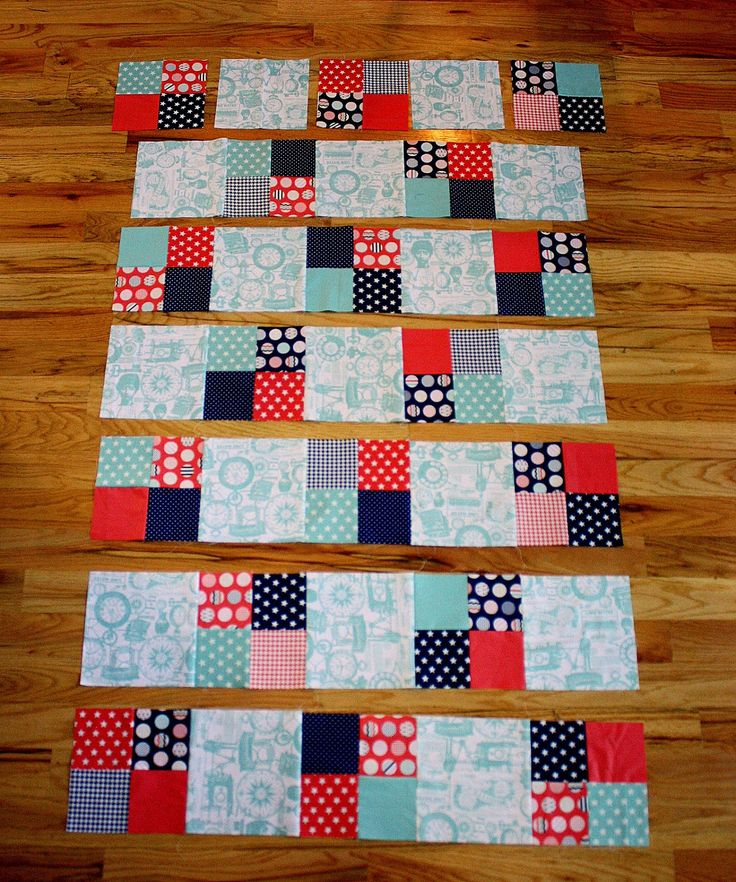 Fast Four-Patch Quilt Tutorial - Diary of a Quilter; 8.5 x WOF strips into 8.5 inch squares, 4.5 inch squares