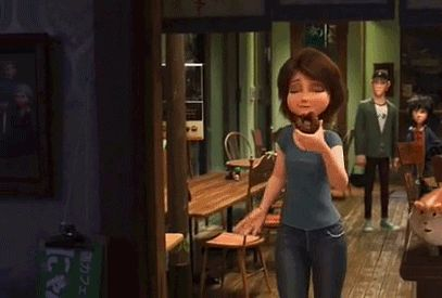 Aunt Cass and her doughnut.<<< my favorite female character of BH6 would have to be Aunt Cass. I like her because she's a perfect motherly figure to Hiro and Tadashi even though she's their aunt. She's a very lovable character in my opinion for her humor and I feel as if she should get a little more attention.