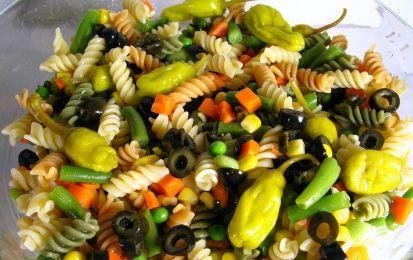 Insalata di pasta con olive, capperi e uova in salsa piccante - L'insalata di pasta con olive, capperi e uova in salsa piccante è una ricetta di pasta fredda ottima per l'estate. Il sapore piccante è dato dalla presenza di peperoncini verdi piccanti e da un tocco di senape. Olive e capperi con una crema di uova sode e acciughe rappresenta il condimento di questa insalata di pasta.