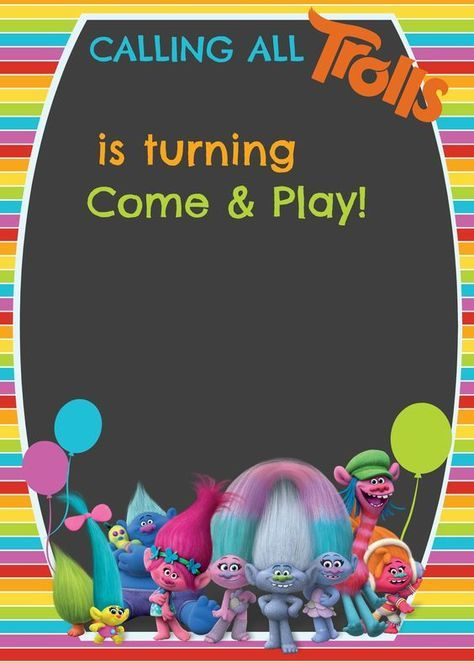 FREE Trolls Digital Invitation template| Step by Step tutorial included on How to make with PicMonkey| Cakecrusadersblog.com