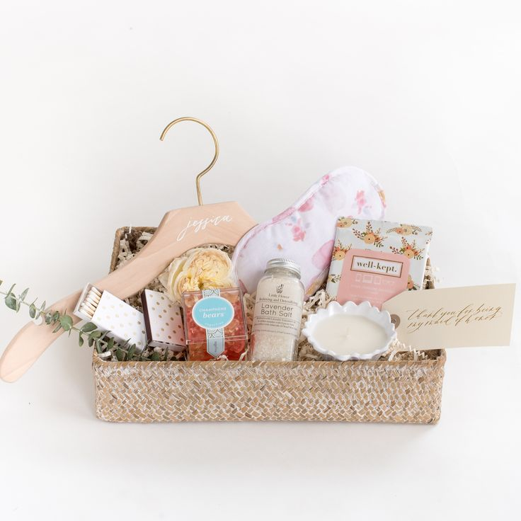 """""""Thank You for Being my Bridesmaid"""" Gift Box by Marigold & Grey // Bridesmaid Gifts / Maid of Honor Gift / Matron of Honor Gift / Bridesmaid Ask / Bridal Party Ask / Bridesmaid / Squad / Engaged / Engagement / Thank You Gift / Calligraphy / Gift Packaging / Wedding Details / Bride / Wedding Etiquette / Bridal Hanger / Bridesmaid Hanger / Source: https://www.marigoldgrey.com/shop/pre-designed-gifts.html"""