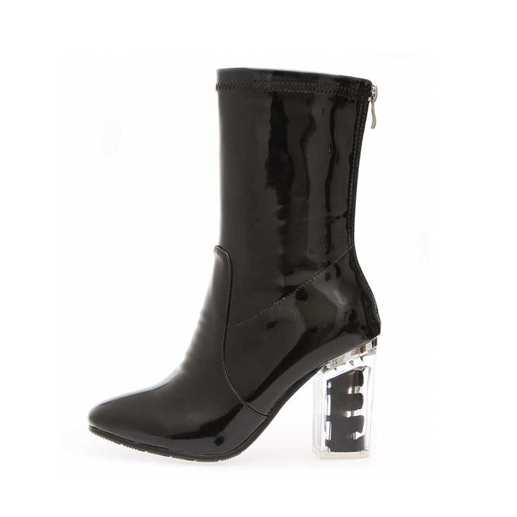 Cheap bota plus size, Buy Quality black boots directly from China boots women Suppliers: Genuine Patent leather transparent square heel women Mid-Calf boots Women Shoes Woman Black Boots Botas plus size 34-43 TMN28A