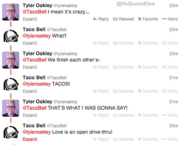 Bahahahaha taco bell meets frozen... now I want some taco bell while I watch frozen...Tyler Oakley!!!