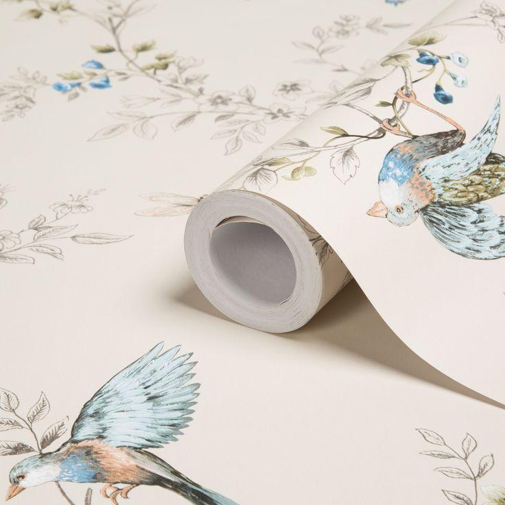 Colours Heligan Cream Birds Mica Effect Wallpaper   Departments   DIY at B&Q