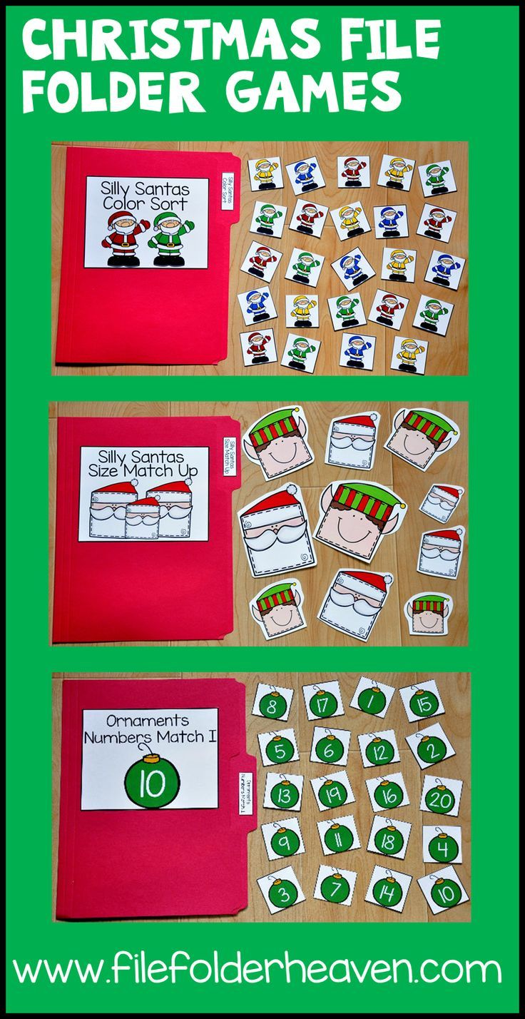 This Christmas File Folder Games Mini-Bundle focuses on basic matching and sorting skills.    This set includes nine unique file folder games with three bonus games for differentiation (for a total of 12 games!) These activities  focus on basic skills, such as matching picture to picture, matching shapes, matching numbers, matching letters, matching by size, sorting by size, sorting by color, and sorting by likeness and differences.