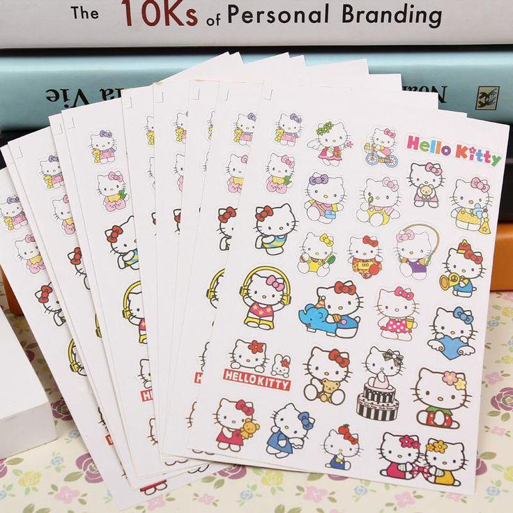 [Visit to Buy] 10sheets/pack Hello Kitty Stickers Toy Kid DIY Exercise Book Diary Primary School Kindergarten Teacher Merit Reward Praise Label #Advertisement
