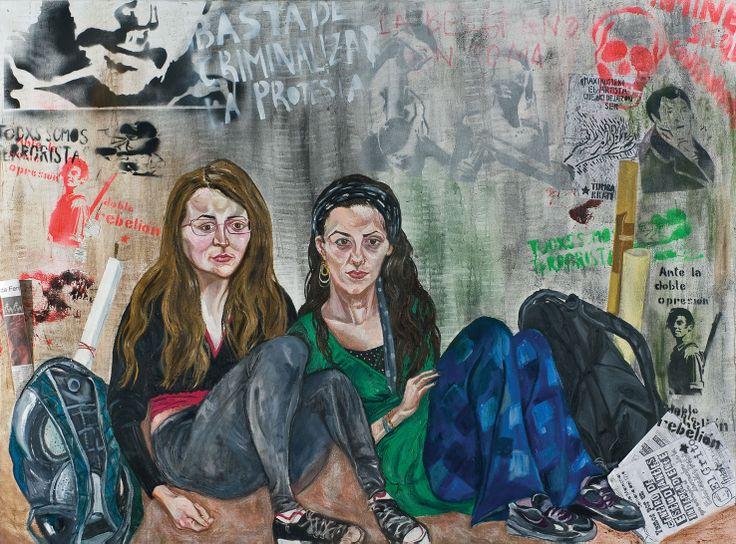 """Pintura """"La toma de la Belgrano"""", Marcia Schvartz. Foto: Cortesía Palais de Glace."""
