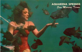 Mermaid feeding fish at Aquarena Springs, San Marcos, TX