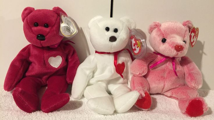 HAPPY VALENTINE's Day Bears: 3 Ty BEANIE BABIES: Romance + Valentina + Valentino #Ty