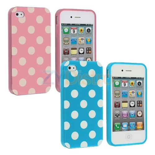 Baby Blue Baby Pink TPU Polka Dot Rubber Skin Case Covers for iPhone 4 4S 4G | eBay