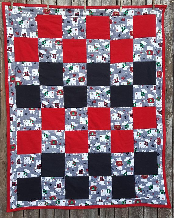 Bears Christmas Quilt  Crib Quilt  Boys Holiday Quilt