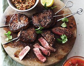 Rubbed Beef Fillet with Two Salsas