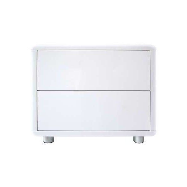 Soho White Gloss 2 Drawer Bedside Table ($145) ❤ liked on Polyvore featuring home, furniture, storage & shelves, nightstands, white gloss furniture, drawer furniture, white gloss bedside table and drawer nightstand