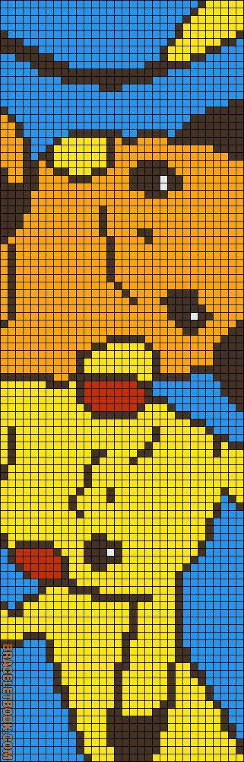 Pikachu and Raichu beading loom pattern, 33 strings