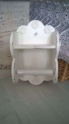 Hand made white wooden distressed shabby chic toilet roll holder