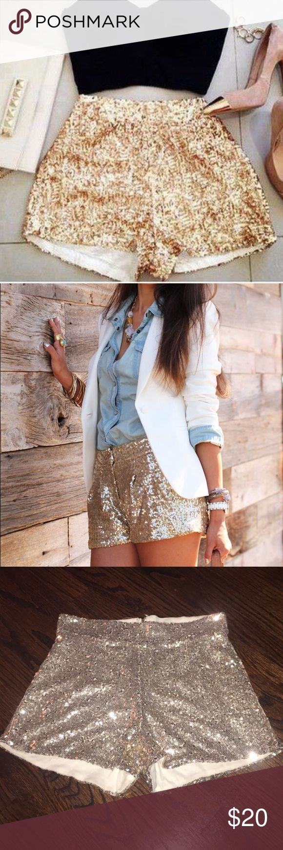 HOST PICK ✨Gold sequin shorts ✨ Gold sequined shorts with back zipper closure. Super hot on :) wear them with tights. Dress them up or down ⭐️ Shorts