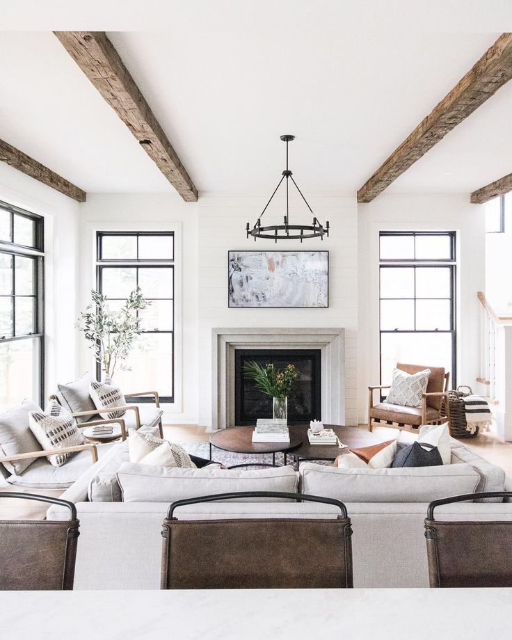 Neutral Living Room Color Scheme Natural Colors Exposed Beams Modern Rustic Livi Farm House Living Room Beams Living Room Modern Farmhouse Living Room