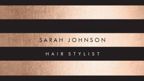 Striped with black and rose gold Hairstylist business cards! Rose Gold Foil…                                                                                                                                                                                 More