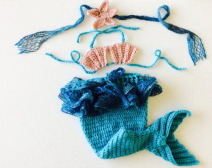 Mermaid Baby set, mermaid baby costume, mermaid baby photo prop set, Speciall Occasion Photo Prop Set, Custom Sizes
