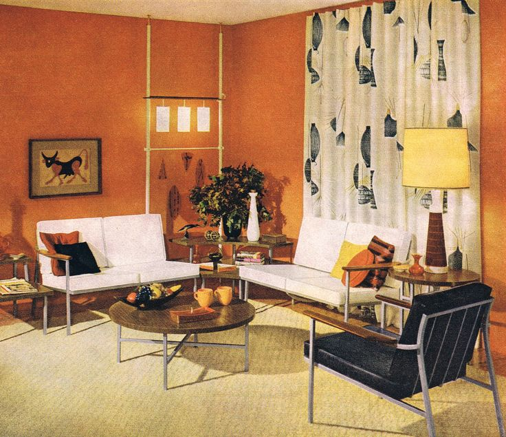 70 best architecture retro interiors 1950s 80s images on for Vintage living room decor