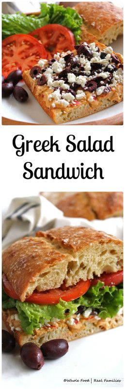 Greek Salad Sandwich - Whole Food | Real Families. Our favorite vegetarian sandwich. Get this healthy recipe and others at www.wholefoodrealfamilies.com.