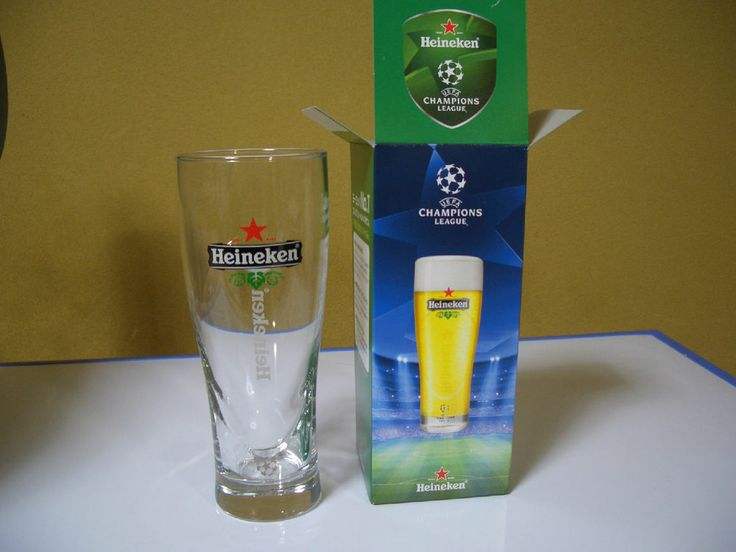 Heineken and Japanese KIRIN made beer glass UEFA champions LEAGE written Japanese