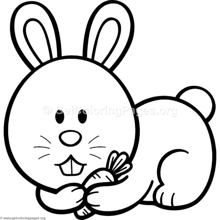 Little Cute Cartoon Rabbit Coloring Pages Rabbit Cartoon