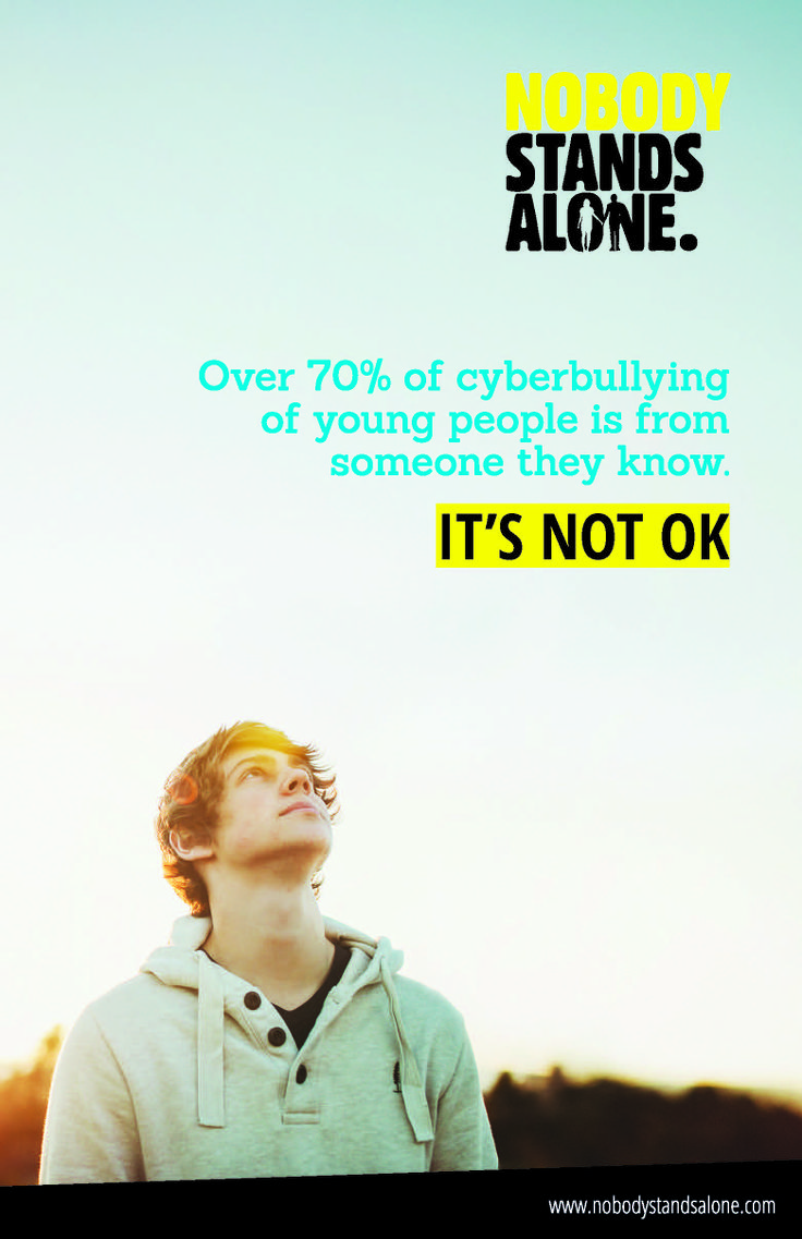 Cyberbullying is NOT OK. Be part of the solution by spreading the word. www.nobodystandsalone.com