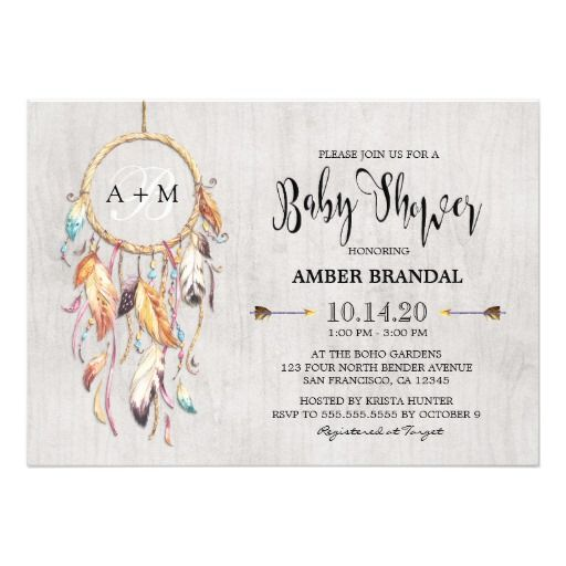 Boho Chic Dreamcatcher Baby Shower Invitation