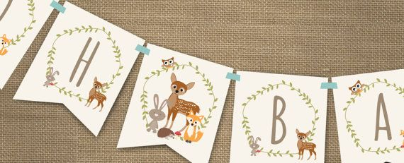 Woodland Baby Shower Banner for a Boy or Girl  by SunshineParties