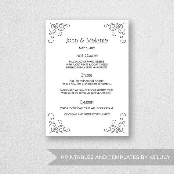 17 best Wedding Menu Templates images on Pinterest Mac, Adobe - wedding menu template