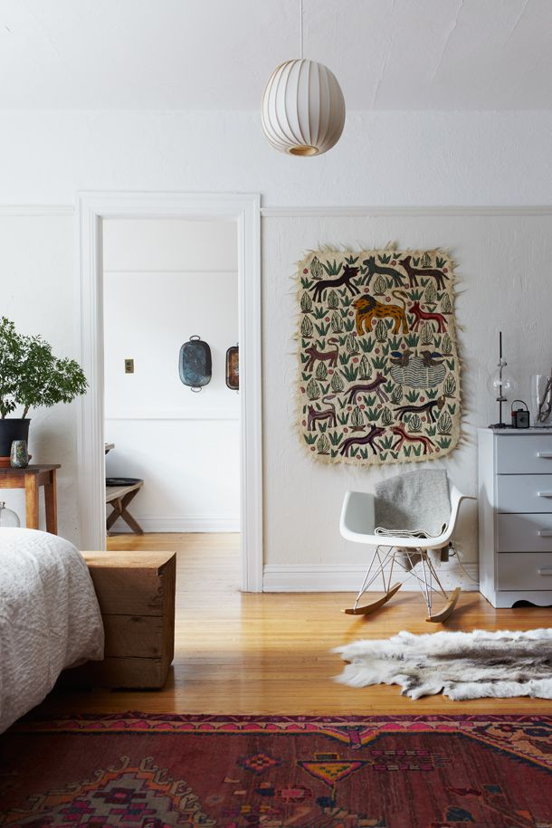 herriott grace: Bedrooms Rugs, Decor, Tapestries, Rocks Chairs, Wall Hanging, Eames, Bedrooms Projects, White Wall, Textile