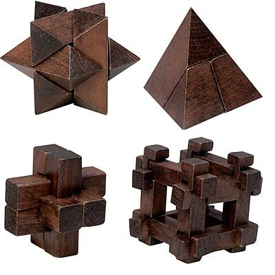 Set of 4: Dark Wood Wooden Puzzles