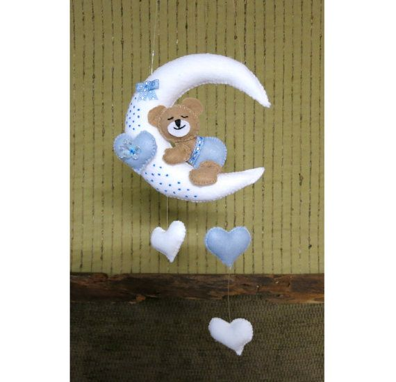 Baby Mobile Nursery Crib Teddy Mobile  Moon And by NchantedGifts