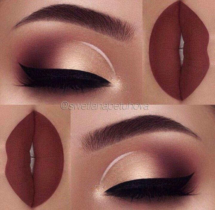 Scarlet & Gold Holiday Lip And Eye Makeup