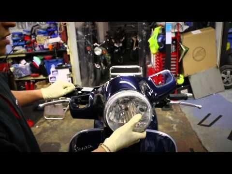 Vespa GTS 125 How to's - Change your Headlight Bulb - YouTube